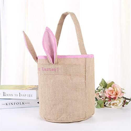 - COMShow Easter Bunny Bags Kids Rabbit Basket Reusable Woven Easter Gift Bag for Easter Hunt Party Favor