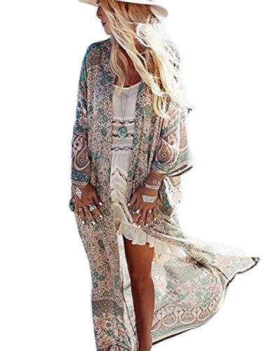 (Women's Summer Floral Flowy Cardigan Long Bikini Kimono Cover Up Open Front Sheer Tops (Coffee))