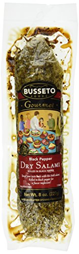 Busseto Dry Cured Salami, Black Pepper, 8 Ounce