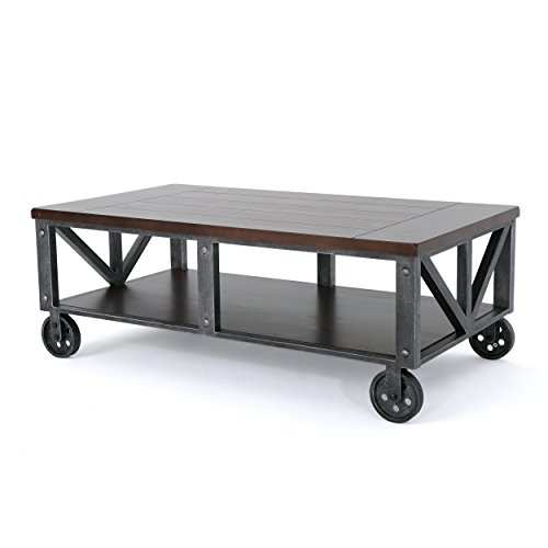 Dresden Industrial Rustic Wood Faux Wood Coffee Table with Antique Black Iron Frame (Table Frame Iron)