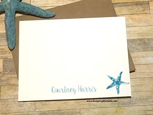 Personalized Starfish Stationery - Beach Stationery - Wedding Thank You Cards - Nautical Starfish Cards - Beach Wedding Flat Cards