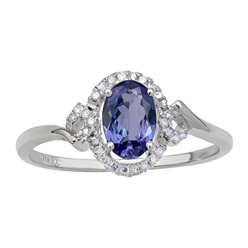 (Instagems 10k White Gold Oval Tanzanite and Halo Diamond Ring)
