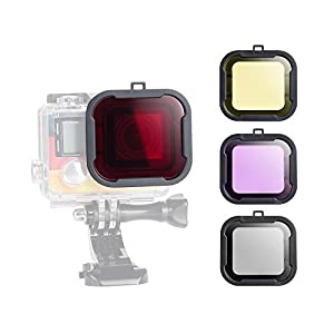4pcs Photography Color Correction GoPro Diving Filter Kit for GoPro Hero3+ Hero4 Camera Red Purple Yellow and Gray for Scuba Diving, Underwater photography