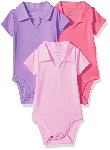 (Hanes Ultimate Baby Flexy 3 Pack Short Sleeve Polo Bodysuits, Purple/Pink, 6-12)