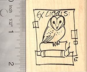 Owl bookplate ex libris rubber stamp arts for Rubber stamps arts and crafts
