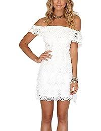 Women Off Shoulder Halter Neck Lace Party Dresses Elegant Vestidos