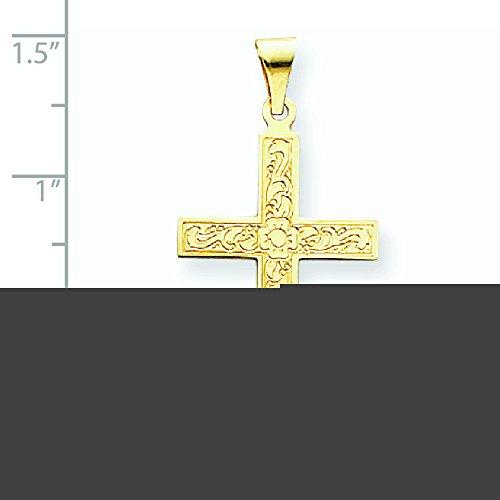 Or 14carats Motif floral pendentif croix-Dimensions 18,3x 36.8mm