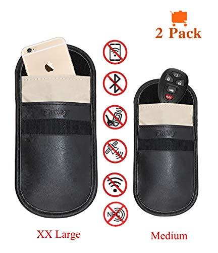 Tuisy Signal Blocker Case - 2X Signal Blocking Key Fob Pouch Faraday Bag Cell Phone Radiation Protector RFID/WiFi/GSM/LTE/NFC Antitheft Car Keys Guard Credit Card EMF Protection