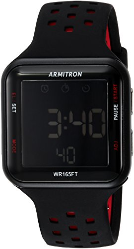 Price comparison product image Armitron Sport Unisex 40/8417BRD Red Accented Digital Chronograph Black Perforated Silicone Strap Watch