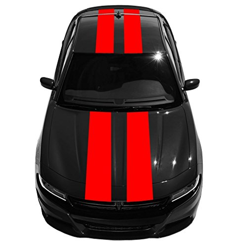 """12"""" Double Center vinyl Rally Racing Stripes (Fits Dodge CHARGER) - Red"""