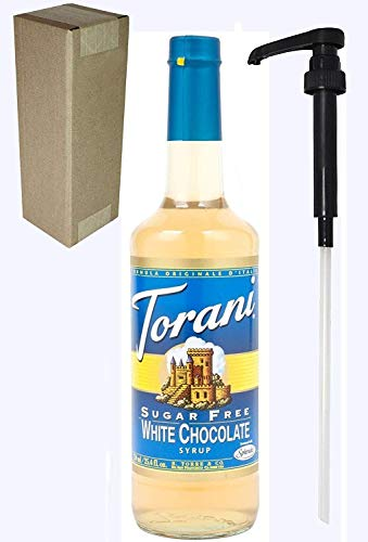 Torani SUGER FREE White Chocolate Flavoring Syrup, 750mL (25.4 Fl Oz) Glass Bottle, Individually Boxed, With Black Pump ()