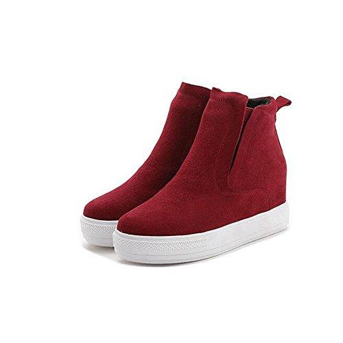 NSXZ Moda femenina Scrub botas de cuero genuino corto , red , 35 37-RED