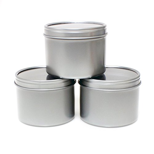 Mimi Pack 6 oz Round Tin Cans Deep Solid Top Lid Steel Containers For Spices, Balms, Gels, Candles, Gifts, Storage 24 Pack (Silver)