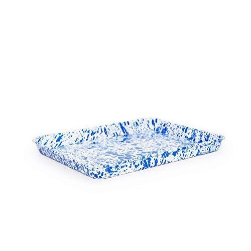 Enamelware Rectangular Tray, 11.25 x 9 inches, Blue/White Splatter (2)