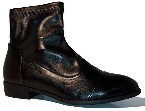 3-W-Hohenlimburg Topmodische Halbhohe Stiefel mit Seitlichem Reißverschluß, Schwarz, Damenschuhe, STI034, Schuh für Damen, topaktuelle Stiefeletten für Alle Gelegenheiten, Hier: Schwarz. Schwarz