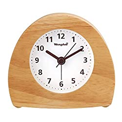 Wood Alarm Clock Digital Battery Operated Silent Desk Clock Snooze and Light Function Ascending Sound Alarm Easy Set Kids Bedside Clock for Office/Home(White)