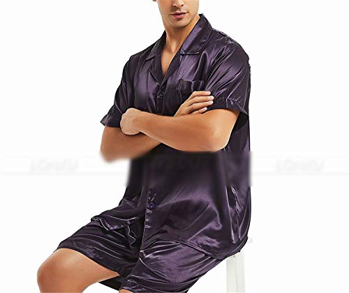 Purple Raso In Loungewear Pigiameria Di Pigiama Uomo L Seta Set Da Splento wF4xqvx