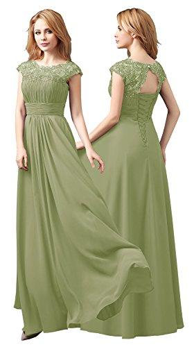 pavimento d' vestito onore lunghezza Nuovo sera damigella da Abito partito Sage Chiffon Maxi Prom Green di Formale BUxPn