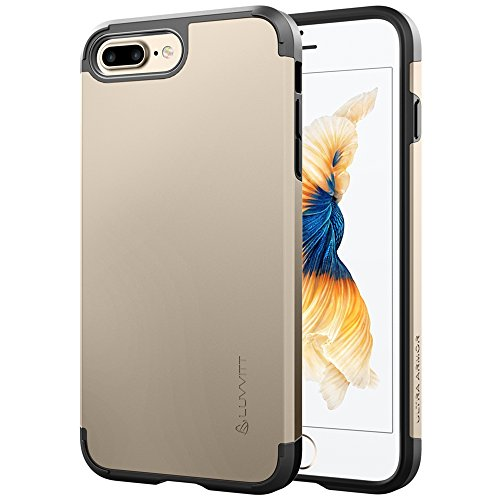 iPhone 8 Plus Case, LUVVITT [Ultra Armor] Shock Absorbing Case Best Heavy Duty Dual Layer Tough Cover for Apple iPhone 8 Plus (2017) - Gold