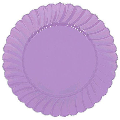 Scalloped Premium Plastic Plates with Metal Trim Spring Party Reusable Tableware (10 Pieces), Lilac, 10