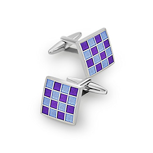 Mr.Van Blue Enamel Cufflinks Square Grid Rhodium Plated Cuff Links Set Wedding Business Men's Jewelry (Enamel Grid)
