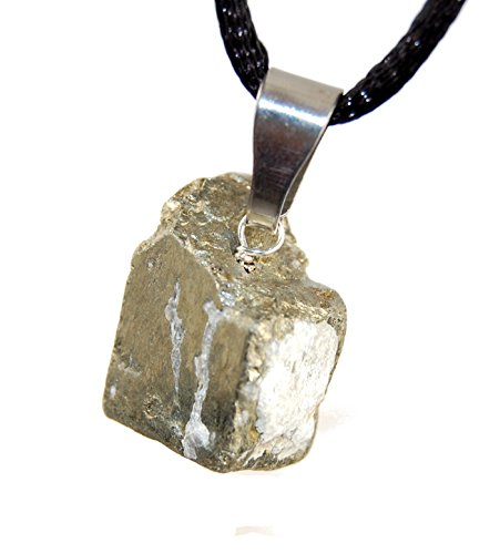 Steampunkers USA Miner's Horde - 15mm Cube Block Pyrite Golden - 20-22 inch Black Cord - Crystal Gemstone Carved Necklace Charm Handmade