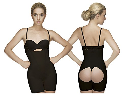 2d01d85b9a Amazon.com  Vedette Shapewear 504 Isabelle Strapless Mid Thigh Body w  Buttock  Enhancer Black Large  Health   Personal Care