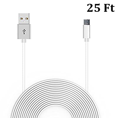 25 Ft Power Cable for WyzeCam, Amazon Cloud Cam, YI Dome Camera, JCO's Mini Cube Cam, Arlo Q, Nest Cam, Dropcam, And Furbo Dog Camera USB to Micro USB Extension Power Cord for Amazon Tap and Dot