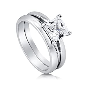 BERRICLE Rhodium Plated Sterling Silver Cubic Zirconia CZ Solitaire Engagement Ring Set Size 5