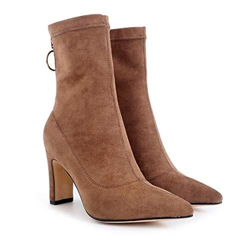 ZHZNVX ZHZNVX ZHZNVX Damenmode Stiefel Suede Herbst Stiefel Chunky Heel Mid-Calf Stiefel Schwarz Braun 52d48c