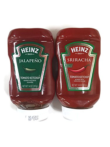 Heinz Ketchup Variety Pack: Jalapeno Ketchup & Sriracha Ketchup, 14 oz. Plastic Jars [1 of Each]