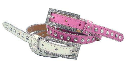 Women's Western Cowgirl Crystal Rhinestone Studs Skinny Leather Dress Belt 3/4