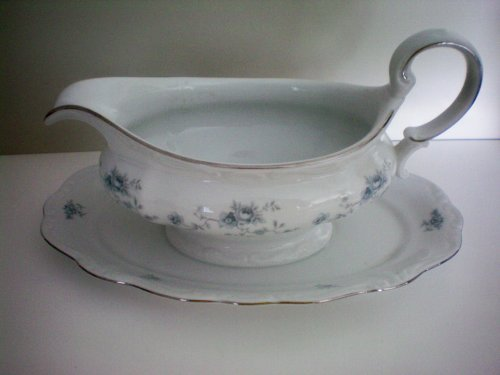 Johann Haviland Bavaria Germany Blue Garland Gravy Boat w/ Attached Underplate -- Haviland Classic -- White Bone Porcelain with Floral Blue Garland and Trimmed in Platinum by Johann Haviland
