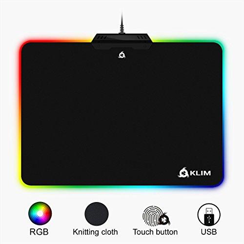 ⭐️Klim LED Gaming Mouse Pad - 13.7 x 10.3 x 0.4 inches - Large USB Black Hard Surface Gamer Mousepad with RGB Chroma Lighting Effects - RGB Lights by Klim
