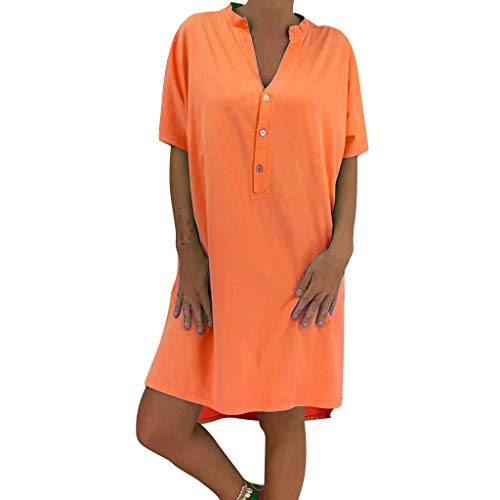 AHAYAKU Fashion Women Solid Summer V-Neck Short Sleeve Buttons Loose Casual Mini Dress Orange
