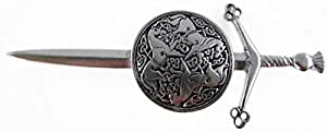 Sword and Targe, Celtic Horses Pewter Kilt Pin