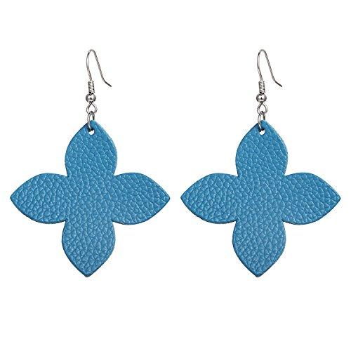 Genuine Leather Leaf Clover Earrings Hollow Teardrop Petal 4 Leaves Shaped Drop Bohemian Earrings For Women (Turquoise)