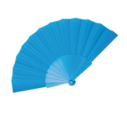 Blue Chinese Party Dancing Portable Folding Plastic Fan Japanese Hand Decor Wedding by HandFan