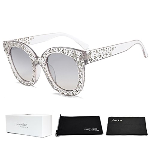 (SamuRita Vintage Star Rhinestone Cat Eye Sunglasses Novelty Celebrity Shades(Silver Mirror Lens/Clear Frame))