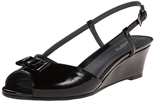 Trotters Women's Milly Wedge Sandal - Black Patent - 7.5 ...