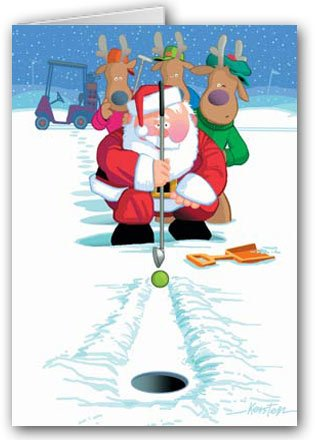 Snow Putting Golf Christmas Card - 18 Funny Boxed Golf Cards & Envelopes