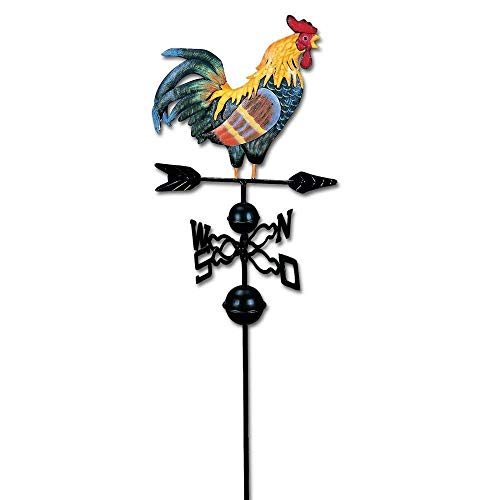 4 Piece Metal Garden Decor Set - Rooster Weather Vane / Wind Wheel Stake, Trio of Butterflies Wall Art