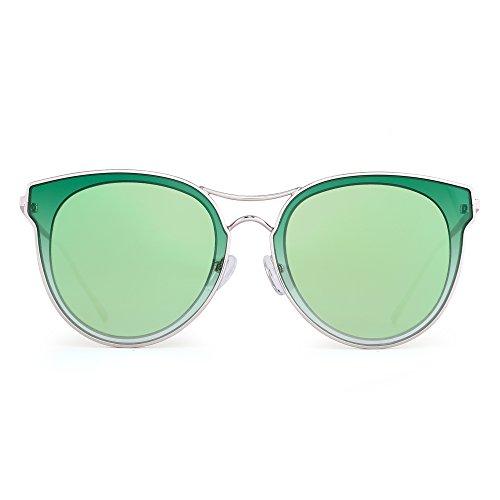 Cat Eye Oversized Sunglasses Clear Flat Round Lens Metal Eyeglasses Women (Gold / Mirror - Free Shipping Cheap Sunglasses