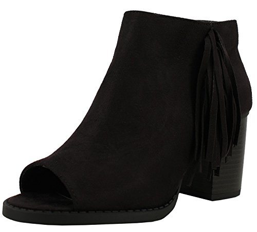 Soda Raton-S Women's Sueded Peep Toe Fringe Western Chunky Stacked Heel Bootie