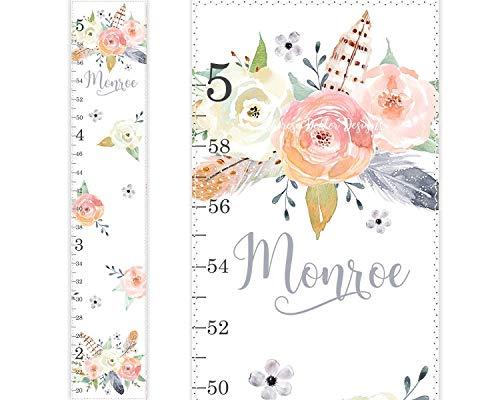 Canvas Growth Chart, Height Ruler, Nursery Decor, Peach Gold Nursery, Floral Nursery Decor, Watercolor Nursery, Rose Blossom, Peachy Blush Blooms