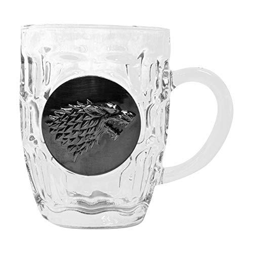 Game of Thrones House Stark Crystal Stein | Collectible Authentic Drinking Glass | 16 Ounces