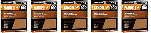 Fandeli 36025 100 Grit Multipurpose Sandpaper Sheets, 9'' x 11'', 25-Sheet (5-(Pack))