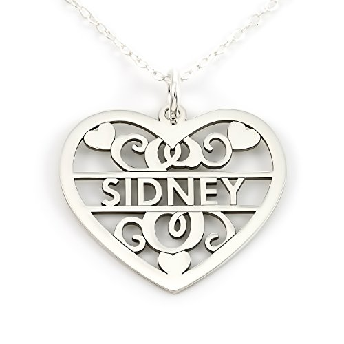 Sterling Silver Fancy Heart Initial and Name Necklace. Choice of 925, 14k Gold Plate, or Rose Gold Plate Over Sterling - 14k Pendant Necklace Gold Wire
