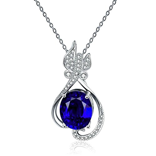 AmDxD Jewelry Gold Plated Women's Necklace Blue AAA Elements Crystal Betterfly Oval Hollow Design