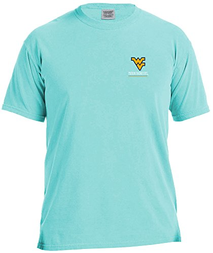 NCAA West Virginia Mountaineers Life Is Better Comfort Color Short Sleeve T-Shirt, Island Reef,IslandReef